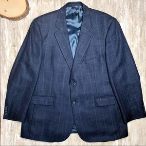 {Brooks Brothers} Navy ALPACA Blend Check Blazer